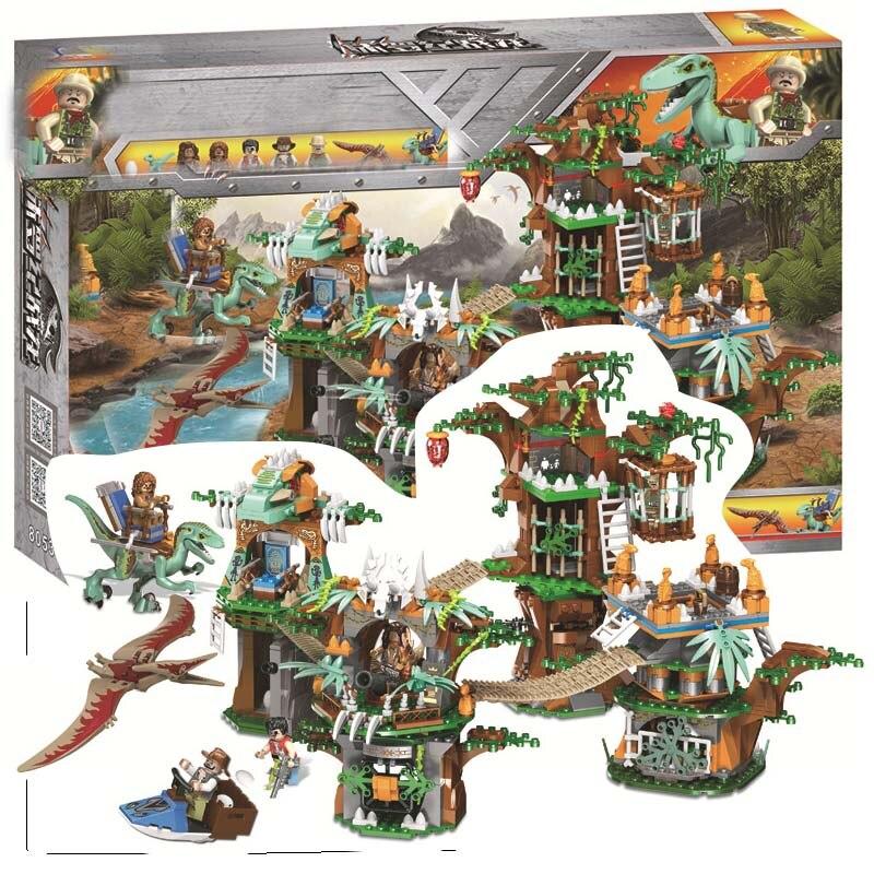 Jurassic World 2 Velociraptor Tyrannosaurus Rex Dilophosaurus Triceratops Dinosaurs Park Building Block Toy For Kids