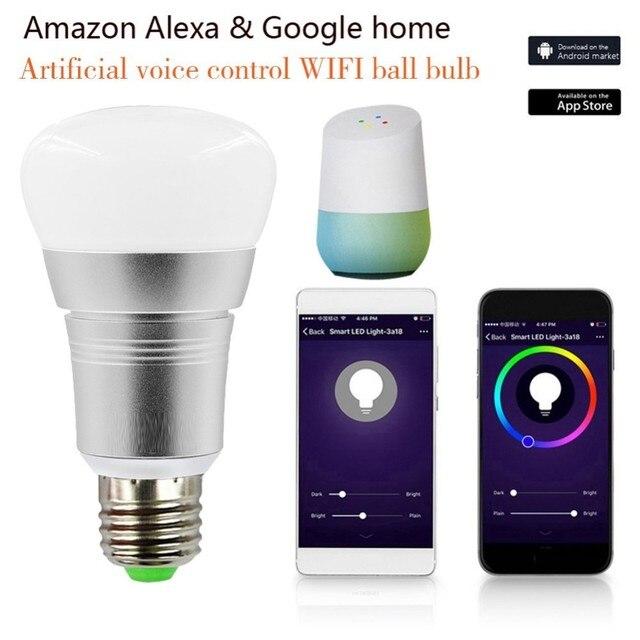 Bombillas de luz inteligente APP Control remoto LED Smart WIFI bombilla LED Ajuste de Color conectar para Amazon Alexa Google home E27 e14 B22