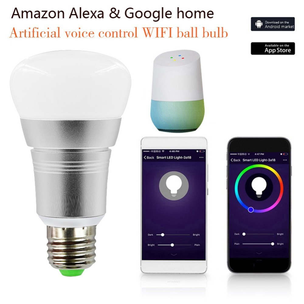 Bombillas inteligentes APP Control remoto Smart LED Bombilla WIFI LED Ajuste de Color conectar para Amazon Alexa Google home E27 e14 B22