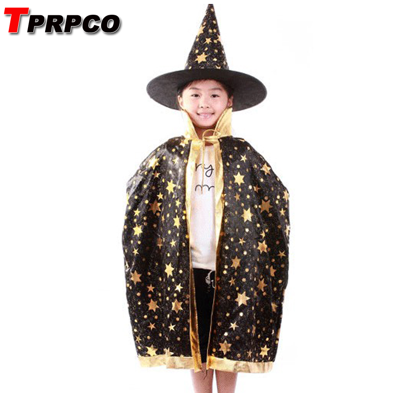 TPRPCO Boy Girl Kids Children Halloween Costumes Witch Wizard Cloak Gown Robe and Hat Cap Stars Fancy Cosplay NL739