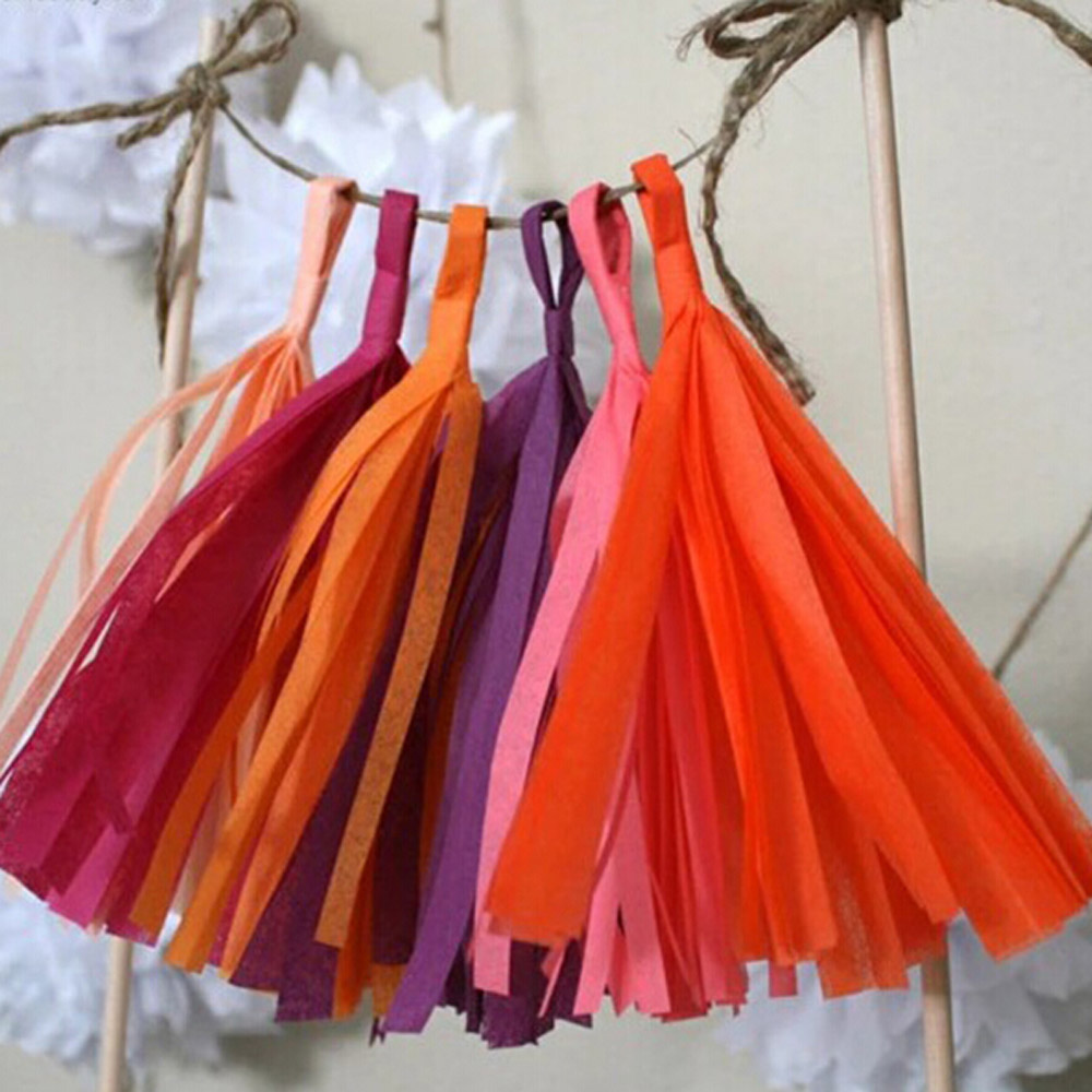 Diy thanksgiving paper decor - 5pcs Tissue Paper Tassels Party Wedding Decor Garland Buntings Pompom Garland Diy Outdoor Party Decorations