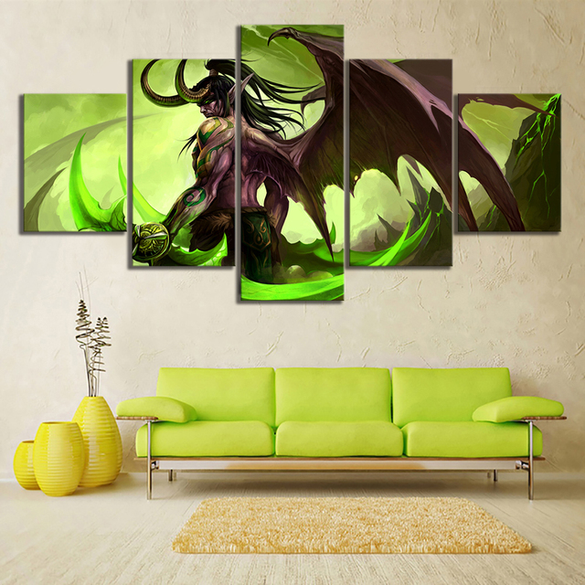 HD Picture 5 Piece Video Game Word of Warcraft Illidan Stormrage Warrior Poster Canvas Art Wall Painting for Home Decor 1