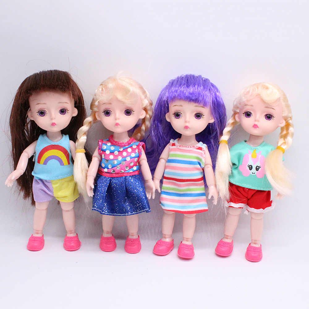 2019 Fashion 16 Cm Mini Boneka untuk Anak Perempuan Panjang Lurus Keriting Putih Merah Muda Rambut Coklat Telanjang Sosok Tubuh Perempuan Boneka mainan Hadiah