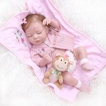 48 cm Tam Silikon Yenidoğan Bebek bebek Gibi Gerçek Yumuşak Vinil Yeniden Doğmuş Uyku Kız Bebekler Banyo Duş Oyuncak çocuklar için doğum günü hediyesi