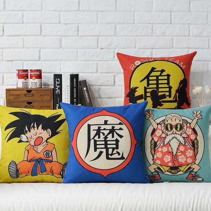 Japanese Anime Dragon Ball Printed Cushion Cover Home Decorative Pillow Case Cojines Decorativos Para Sofa Pillow Cover Almofada