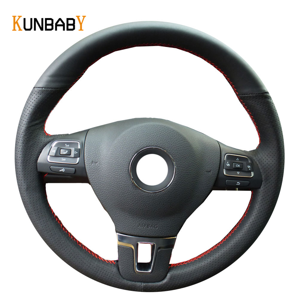 KUNBABY Black Red Genuine leather Car Steering Wheel Cover for Volkswagen VW Gol Tiguan Passat B7 Passat CC Touran Jetta Mk6