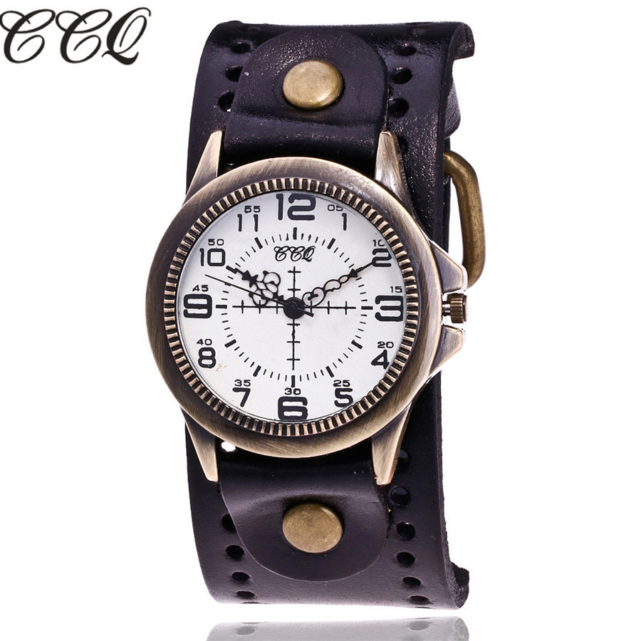 CCQ Brand Fashion Vintage Cow Leather Quartz Watches Women Men Bronze Sight Dial Casual Dress Wristwatch Clock Relogio Masculino eyki casual retro vintage watch men women luxury brand quartz dress watches clock leather men s wristwatch relogios masculino