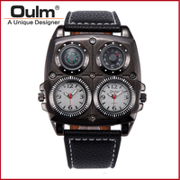 New Design Big Face OULM Watches Men Compass Thermometer Function Dual Quartz Movement Watch