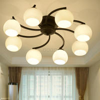 85 265V Nordic New Arrivals Creative Windmill Iron Led Chandelier Light Foyer Bedroom Frosted Glass Ceiling Chandelier