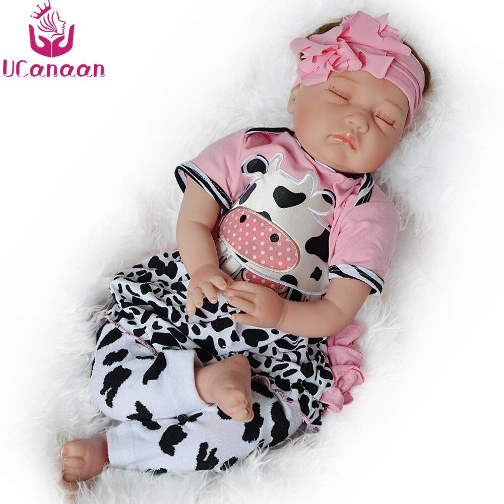 UCanaan 55CM Cloth Body Reborn Doll Sleeping Baby New Born Dolls Lifelike Alive Newborn Kids Toys Play House Children DIY Toy все цены