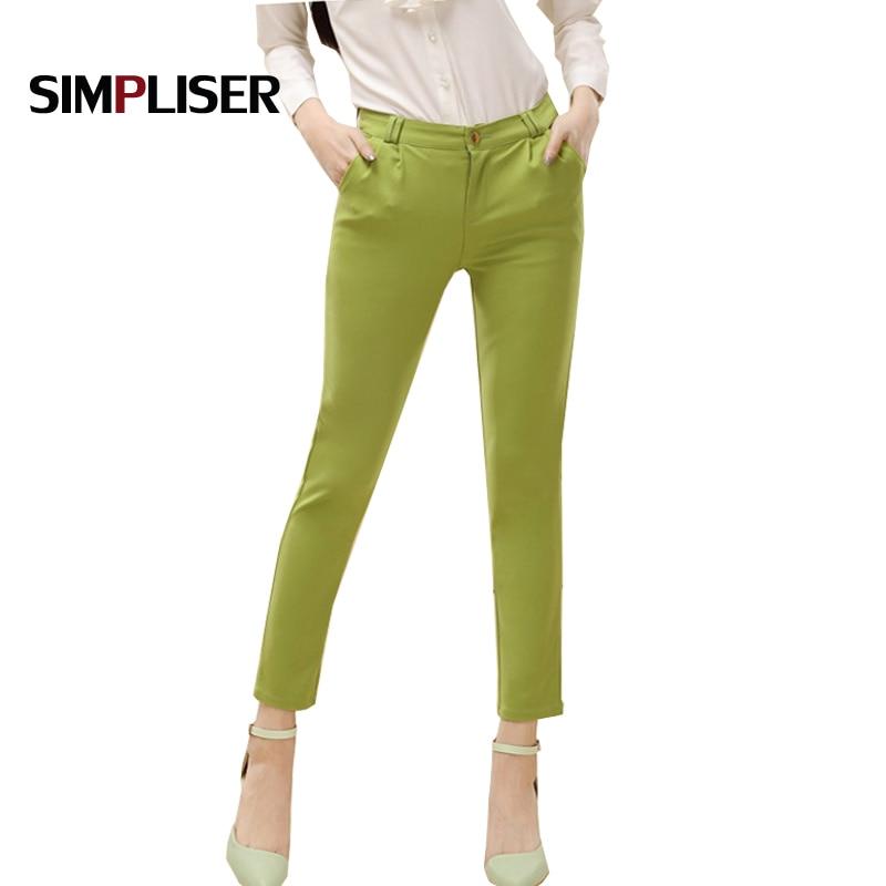 2019 Women suit   Pants   Office Work Wear Trousers Summer Green Black Ankle Length Business Pencil   Pants   Female Pantalon   Capris
