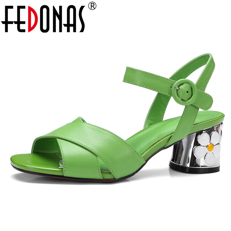 FEDONAS 2018 Women Buckle Strap Gladiator Fashion High Heels Women Genuine Leather Shoes Woman Wedding Party Sandals Shoes hot fashion genuine soft leather flip flops women sandals front rear strap rhionestone slip on party wedding woman shoes