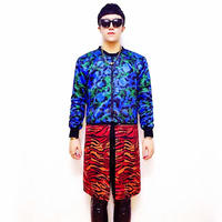 Blue Red Leopard Splice Long Jacket For Men GD Male Singer Bar Show DJ Hot Trench outerwear Hiphop Dance Party Outfit Costumes