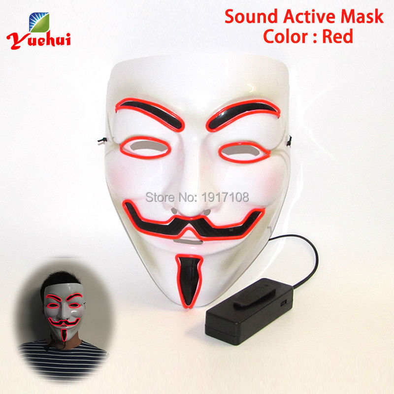 2017 NEW Arrive 10 COLOR lighting V or Vendetta EL mask Party Mask for party halloween and christmas By 3V Sound Active Driver