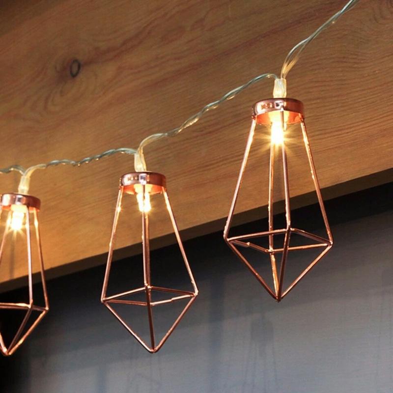 Retro Iron Metal Diamond LED Fairy String Lights Battery Xmas Holiday Wedding Party Home Decoration 10Leds Lantern String Lamps (2)