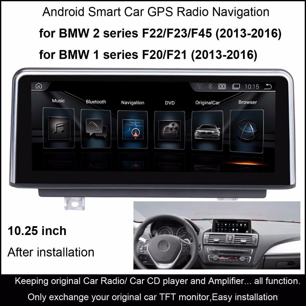 10.25 Android 4.4 Carro Estéreo de Rádio para BMW Série 1 F20/F21 (2013-2016) 2 série F22/F23/F45 (2013-2016) Navegação GPS WiFi