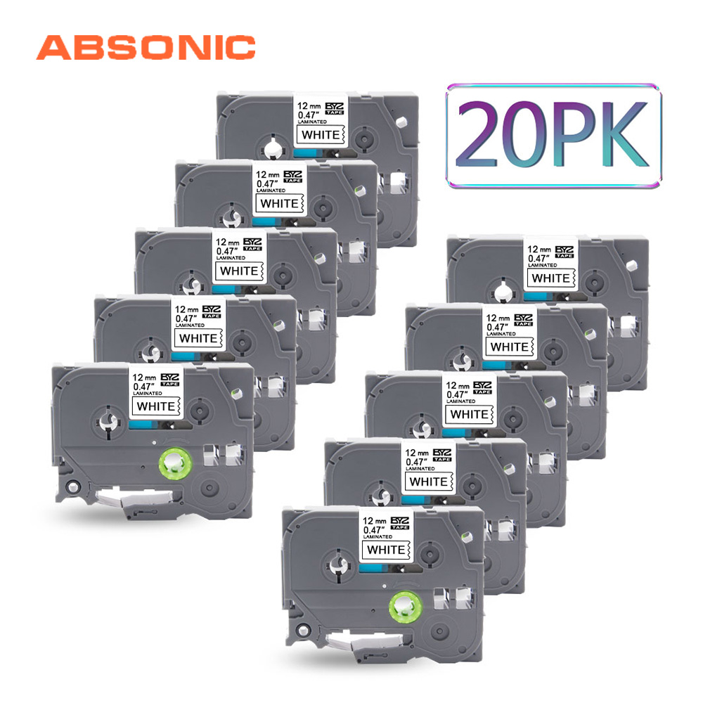 Absonic 20PCS Tape Cassette Replace TZ231 TZe 231 TZ 231 TZe231 Label For Brother P Touch