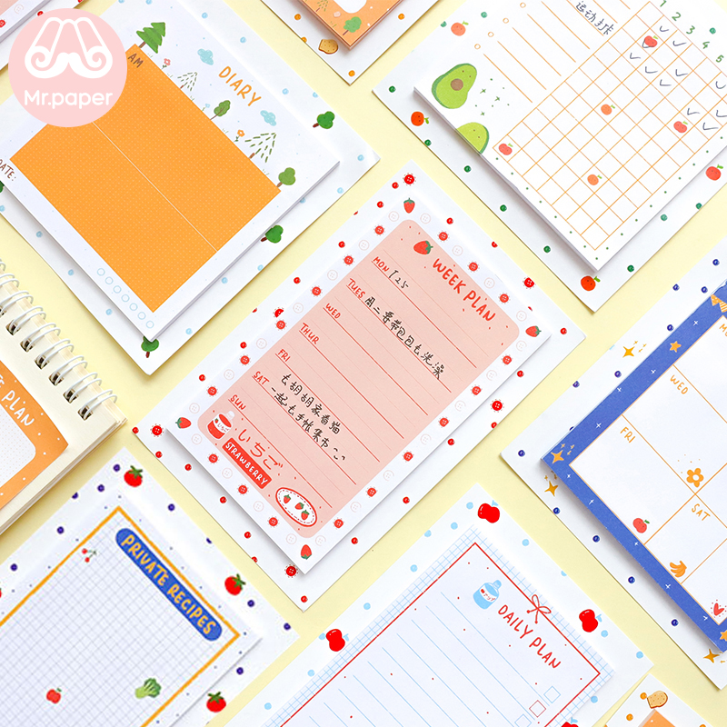 Mr Paper 30pcs/lot 8 Designs Kawaii Fresh Fruits Fridge Star Planner Loose Leaf Notepad Writing Daily Points Down Cute Memo Pads