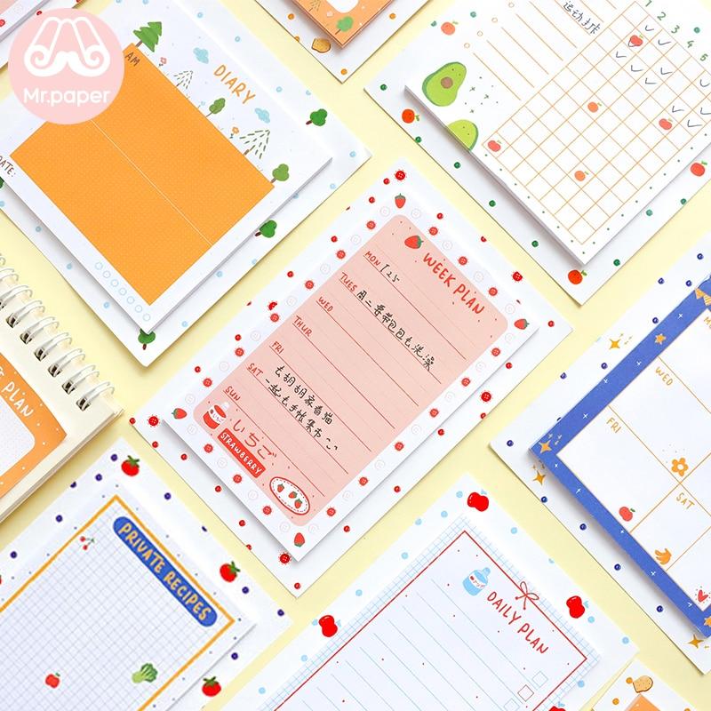 Mr Paper 30pcs/lot 8 Designs Kawaii Fresh Fruits Fridge Star Planner Loose Leaf Notepad Writing Daily Points Down Cute Memo Pads