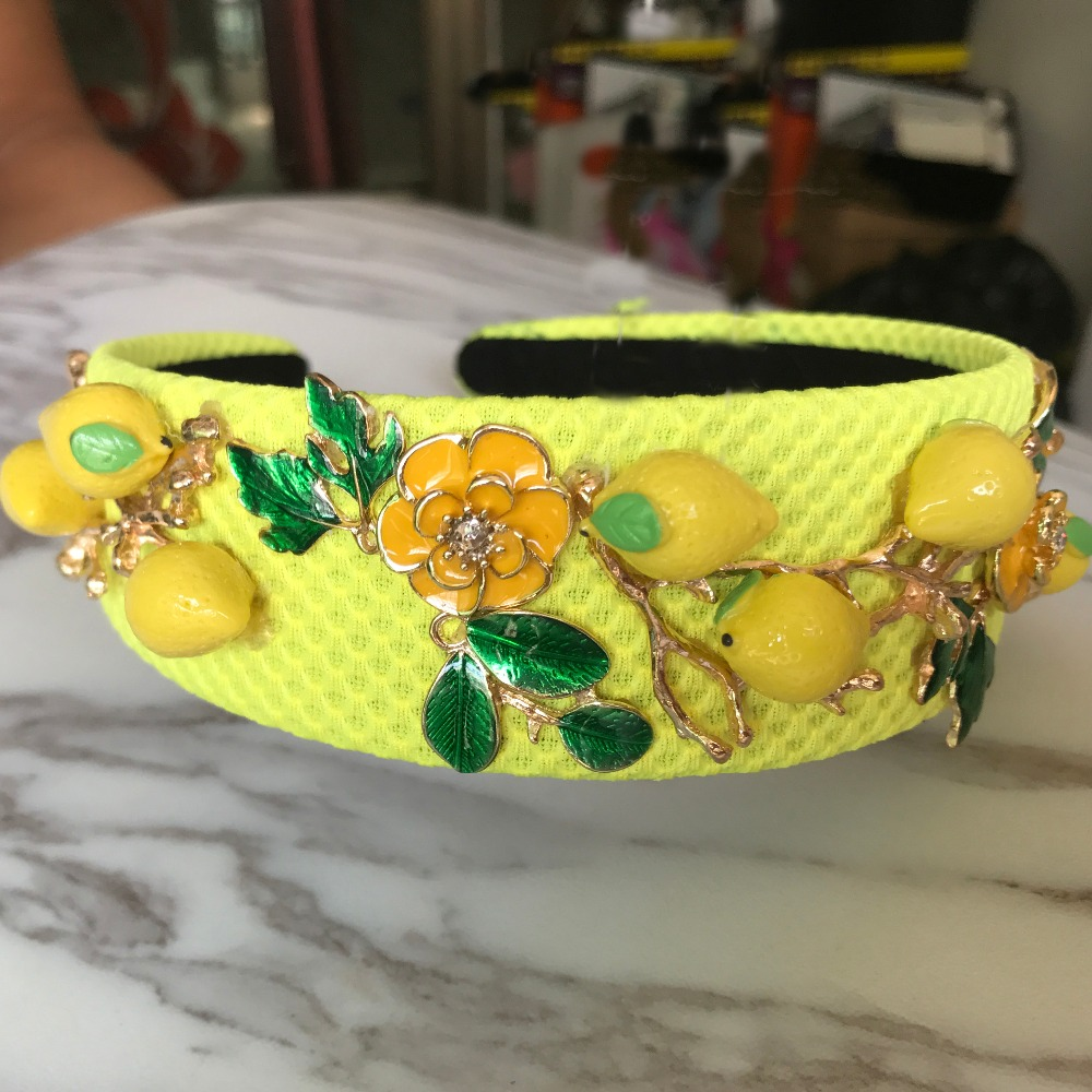 Baroque fashion runway cute yellow lemon flower green leaves headband for women luxury vintage Wideside hair accessories jewelry in Hair Jewelry from Jewelry Accessories