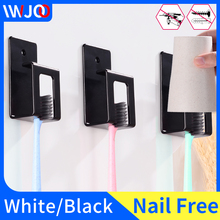 Black Toothbrush Holder Cup Storage Rack Wall Mounted Suction Hook Manual Electric Tooth Brush Organizer Bathroom Accessories