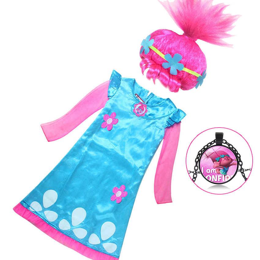Платья для девочек; костюм с троллями и маком; детское платье для девочек; платье принцессы с маком; костюмы на Хэллоуин для детей; нарядные платья