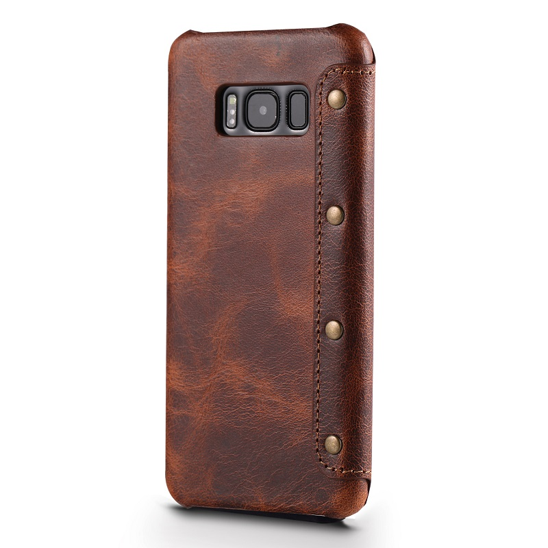 Dark brown real leather case for samsung galaxy s8 genuine leather cover (2)