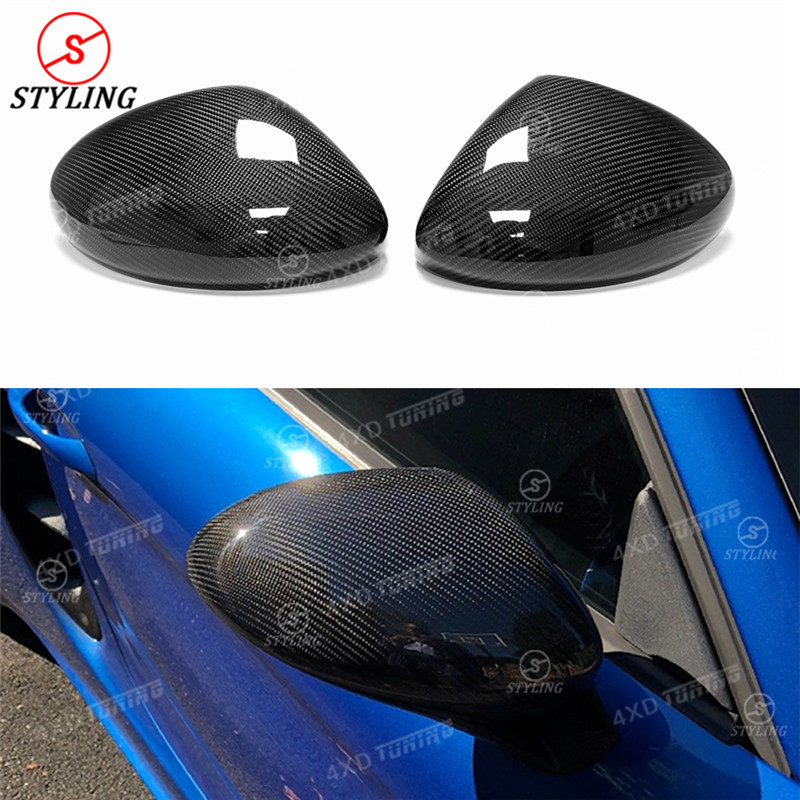 For Porsche 718 Carbon Fiber Rear Side View Mirror Cover Add On Style Gloss Black Finish Only for LHD 2 pieces 2016 2017 - UP