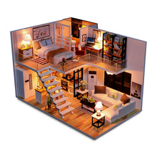 цена на Miniature Elegant House Model Dollhouse DIY Wooden Dolls House With LED Light Furniture Kits Gift Birthday Christmas Gift