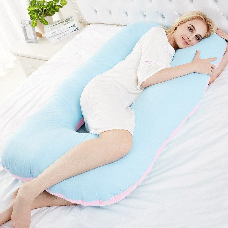 SunnyRain 1 Pièce Coton Oreiller de Grossesse Ventre Profilé De Maternité En Forme de U Oreillers Corporels pour le Dormeur Latéral