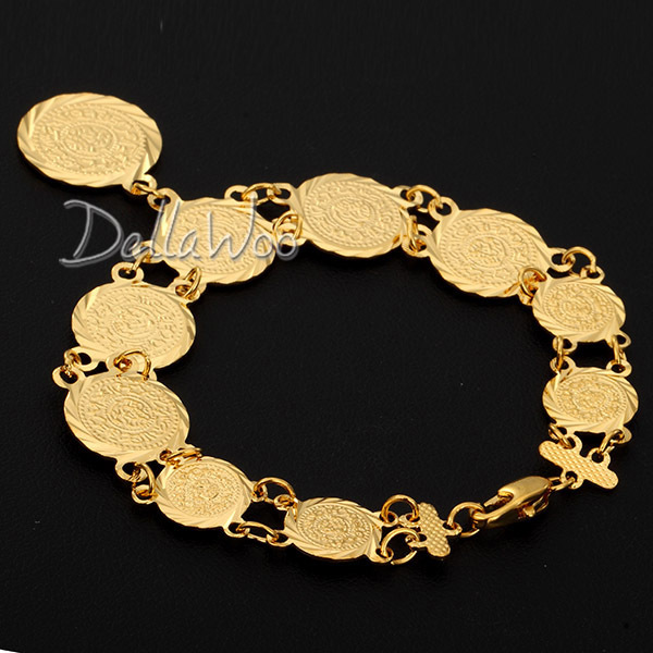 Yellow Gold Filled Bracelet Round Coin Link Chain Womens S Charm Whole Jewellery Dbl1244 In Bangles From Jewelry Accessories On
