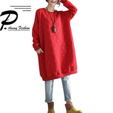 Winter Fashion Plus Size Long Sleeve Padded Cotton Jumper Streetwear Dress  Lady Warm Thickened cotton vogue bb9e660630b0