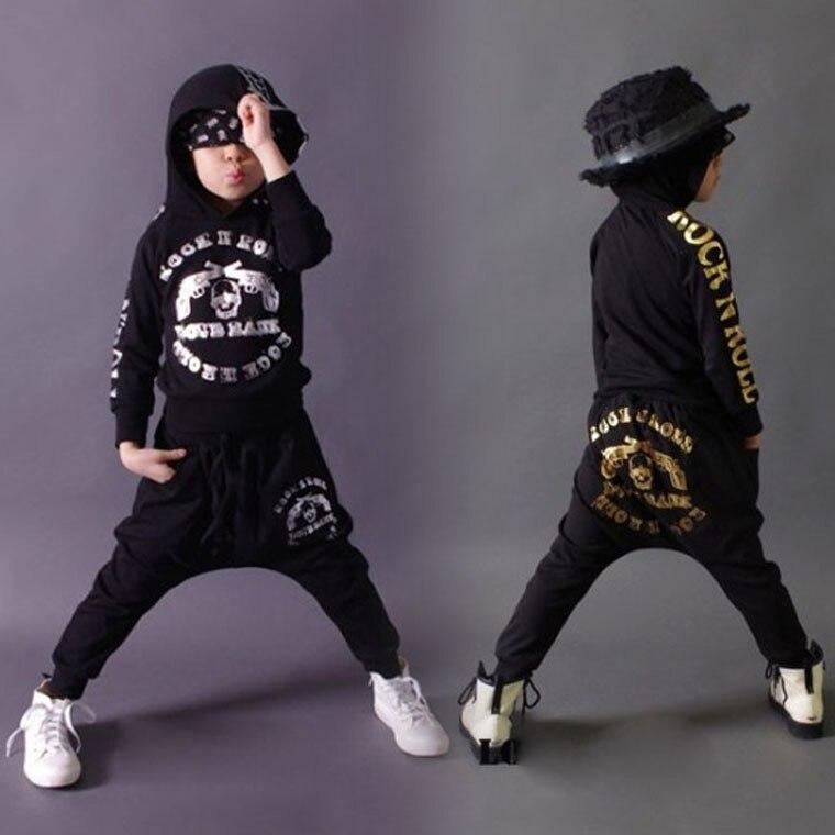 2015 New fashion Autumn children's clothing set Costumes skull gun sweatshirt dance Hip Hop harem pants kids sport suits 2015 new fashion winter boy children s clothing set costumes sweatshirt gold skull print hip hop harem pants kids sport suits