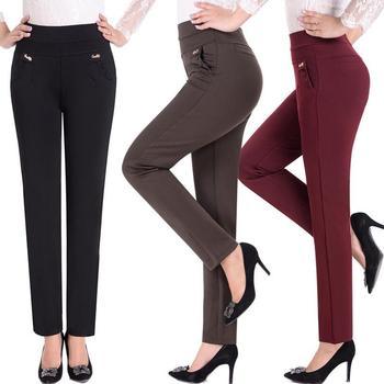 2018 nowa wiosna jesień kobiety spodnie na co dzień spodnie wysoka talia kobiety proste S spodnie plus rozmiar 5XL s1438