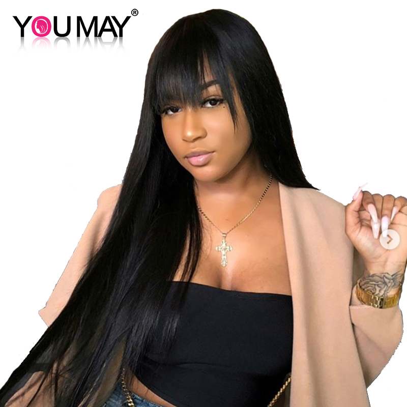 Pre Plucked 360 Lace Frontal Wigs With Bangs 150% Brazilian Straight Lace Front Human Hair Wigs For Women Remy You May Hair