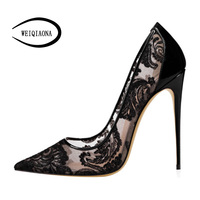 WEIQIAONA Big size 34 46 Women high Heels Pumps Sexy black Laces Flower Mesh Hollow Pointed Brand Lady Wedding shoes Party Shoes