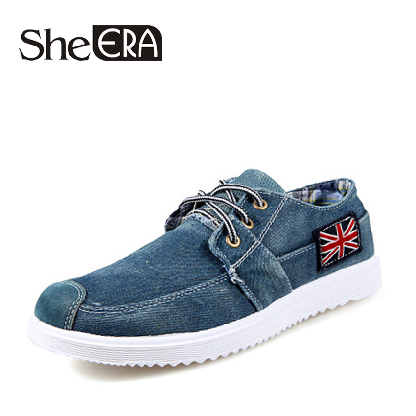 New British Style Mens Flats Fashion Breathable Lace-Up Casual Zapato Men Casual Shoes Washed Denim Canvas Shoes Free Shipping