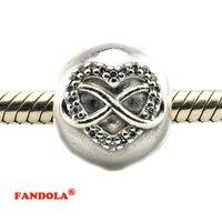 Pandora Bilezik ile Otantik 925 Gümüş Boncuk Infinity Kalp Klip Charms Temizle Kübik Zirkonya Takı CL019