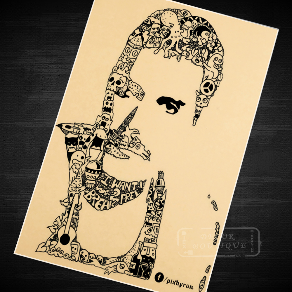 Comics Freddie Mercury Music Classic Decorative Vintage Retro Poster ...