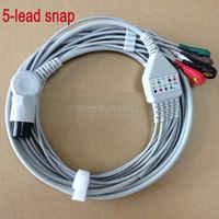 G oldway M Indray MEC1000 MEC2000 PM7000 PM8000 PM9000 snap on terminal 6 pinsชิ้นเดียว5สายนำคลื่นไฟฟ้าหัวใจs nap on terminal