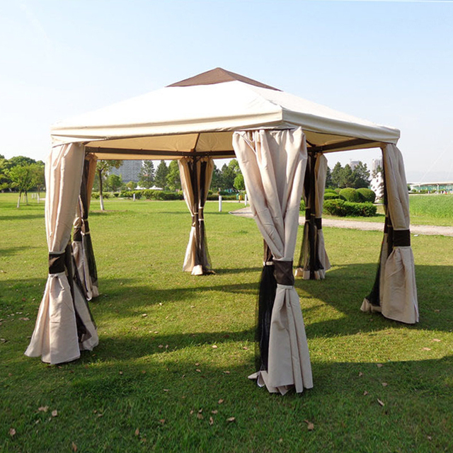 Dia 3.5 Luxury Meter Outdoor Gazebo Tent Patio Pavilion Canopy For Garden  Beige Sun Shade Furniture
