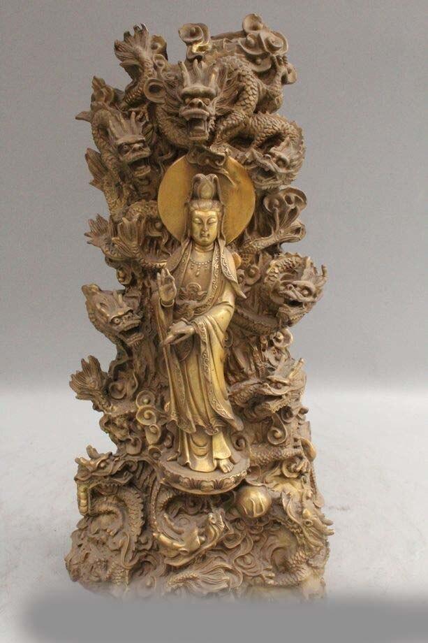 15 Статуя Дракона стенд девять дракон Кван Инь Гуань Инь статуэтку богини