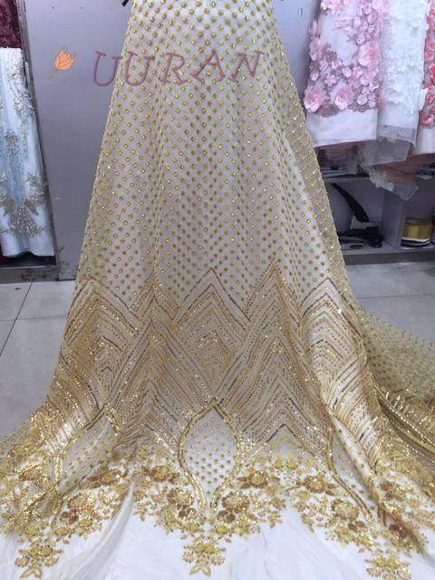 Gold African lace fabrics french High Quality bridal beaded nigerian lace  tulle lace fabric For Wedding 0e66c7590133
