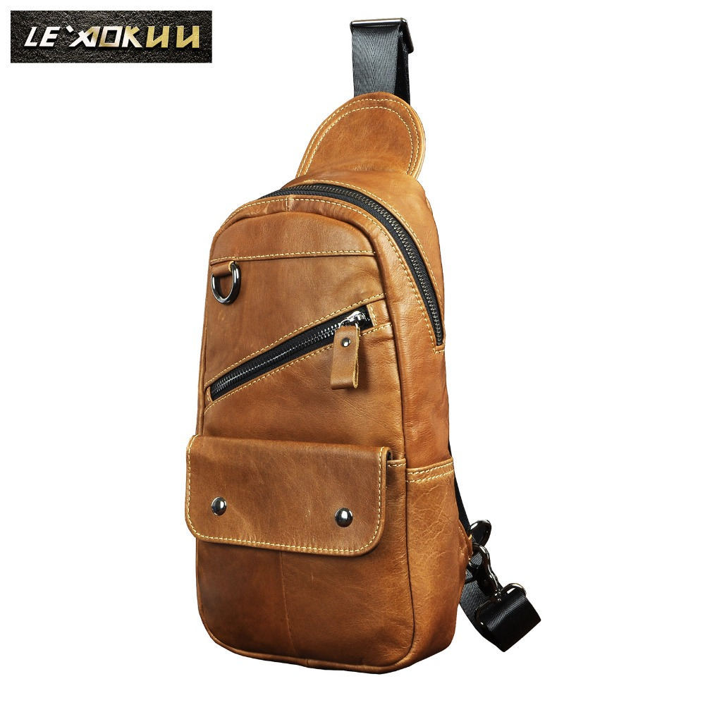 Cowhide Leather Men Casual Fashion Travel Triangle Chest Sling Bag Design 8