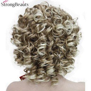Image 3 - StrongBeauty Kurze Lockige Synthetische Perücken mit Stirnband Frauen Blau/Grau/Schwarz/Rot/Blonde/Braun Perücken 3/4 halbe Perücke für Dame