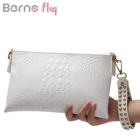 Berno Fly White Envelope Evening Clutch Bag Crocodile Pattern Genuine Leather Messenger Women Bags Crossbody Purses