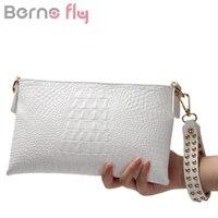 Berno Fly White Envelope Evening Clutch Bag Crocodile Pattern Genuine Leather Messenger Women Bags Crossbody Purses