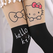 Summer Baby Kids Girls Thin Leggings Knee Cute Cartoon Patchwork Velvet Stocking white Cartoon Kitty Cat Leggings 3-9Y