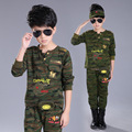 children set 2 pcs/lot autumn Camouflage sports fashion t shirt+ pant teenage boys clothing kids boys suitschild sets 4-14Y