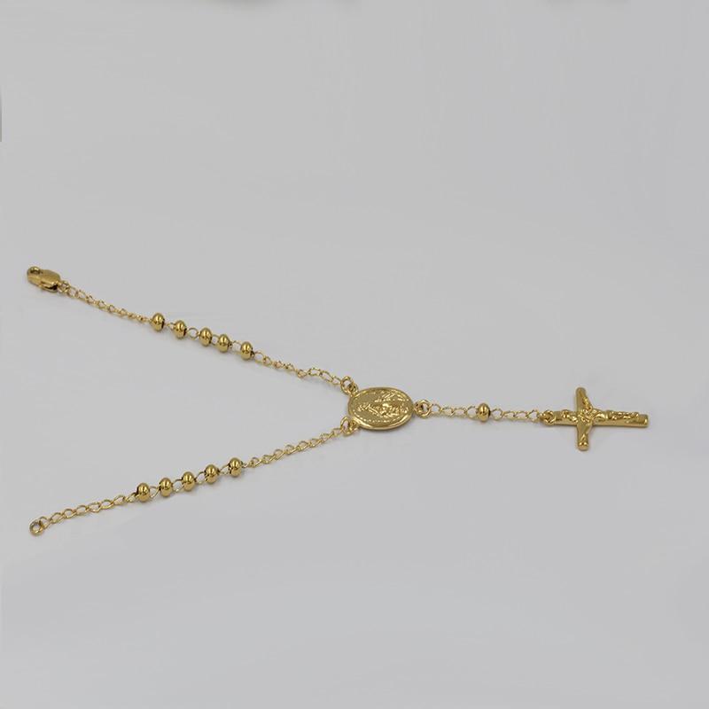 Catholic Rosary Prayer Bracelet For Women/Men Religion Jewelry Gold Color Mary & Jesus Cross Charm Bracelets & Bangles